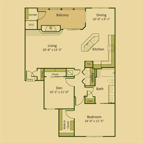 1,120 sq. ft. 1BD-FP floor plan