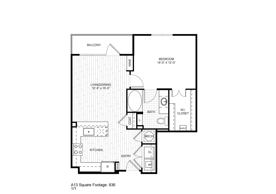 836 sq. ft. A13 floor plan