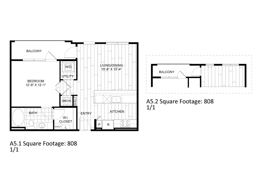 808 sq. ft. A5.1 floor plan
