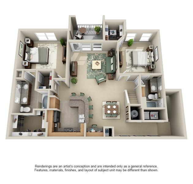 1,282 sq. ft. Hacienda floor plan