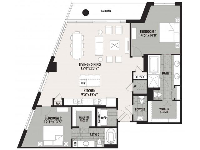 1,523 sq. ft. B3 floor plan