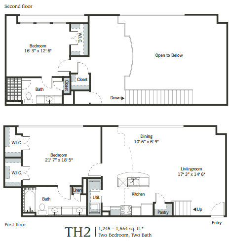 1,192 sq. ft. to 1,534 sq. ft. TH2 floor plan