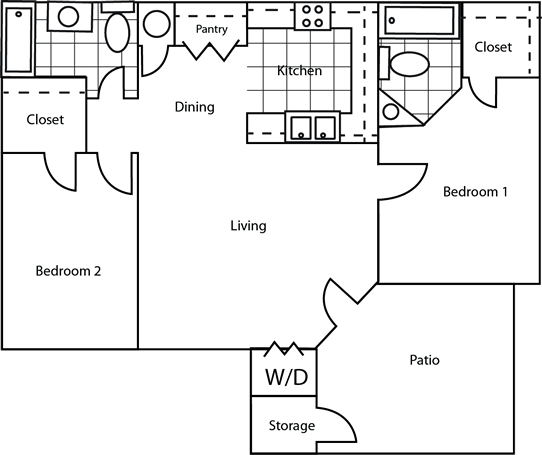 1,050 sq. ft. 60% floor plan