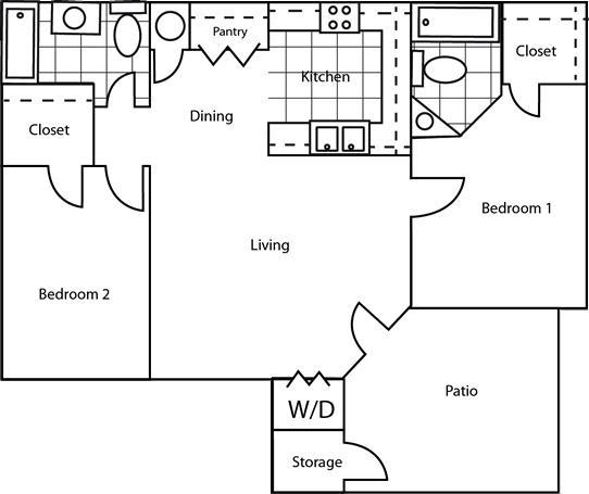 1,050 sq. ft. 60% floor plan