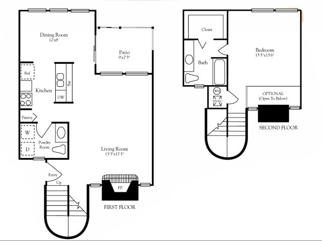 915 sq. ft. A3 floor plan