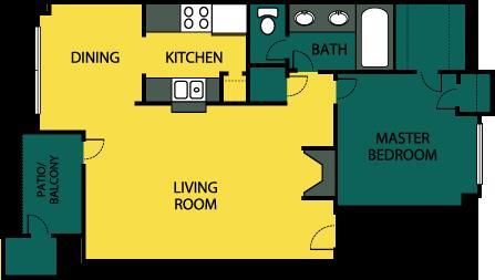 744 sq. ft. Luxury floor plan