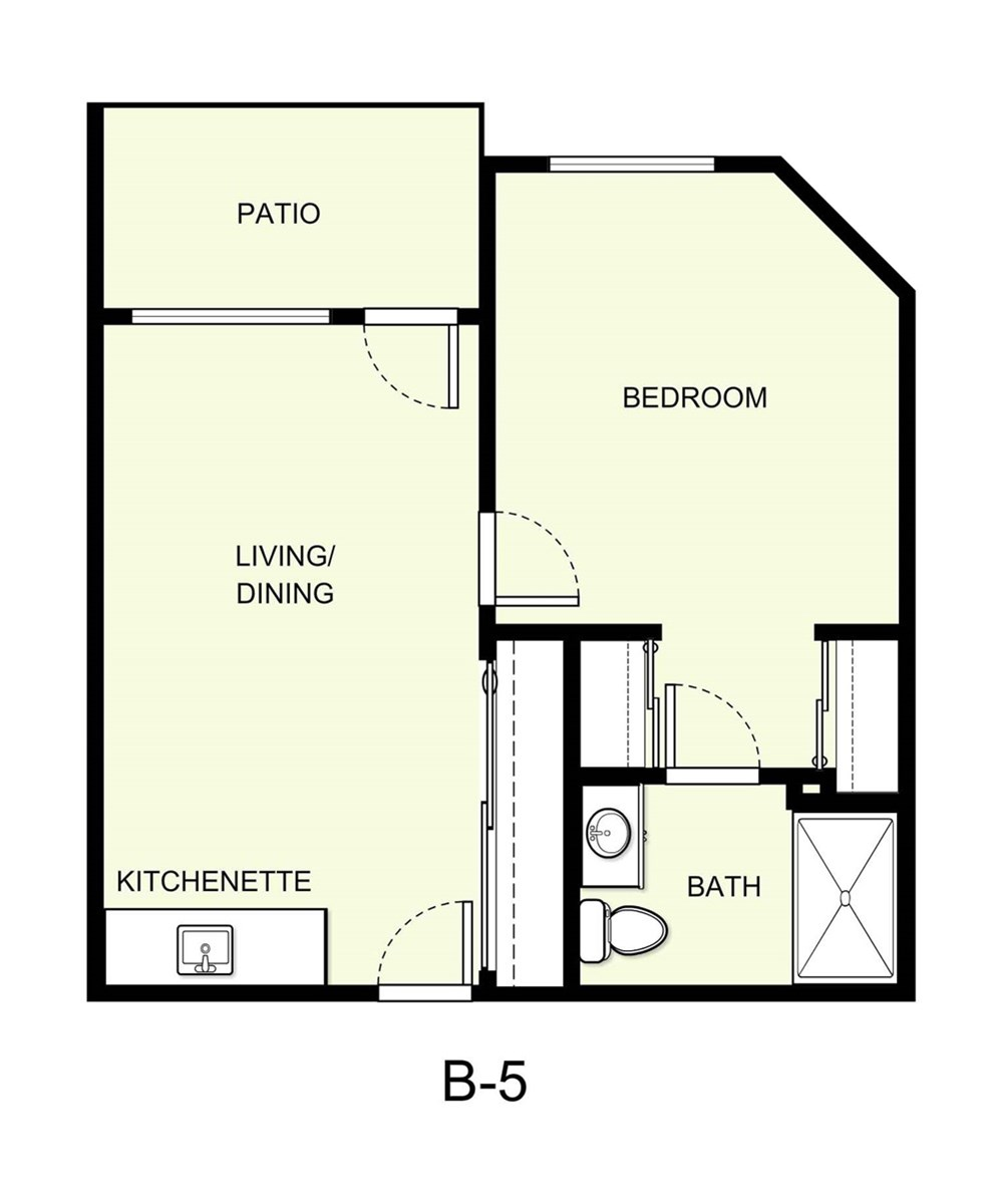 542 sq. ft. B5 floor plan