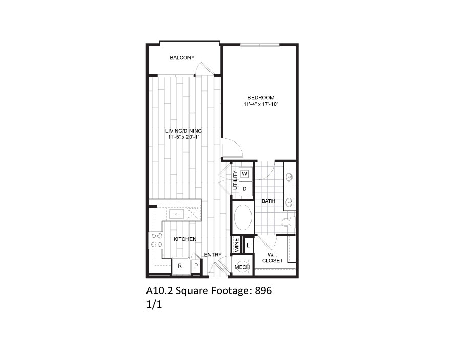 896 sq. ft. A10.2 floor plan