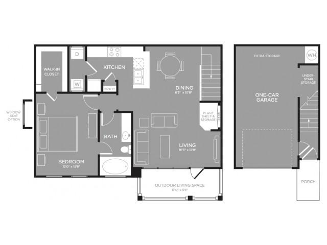 903 sq. ft. Heather floor plan