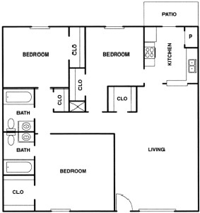 1,131 sq. ft. C floor plan
