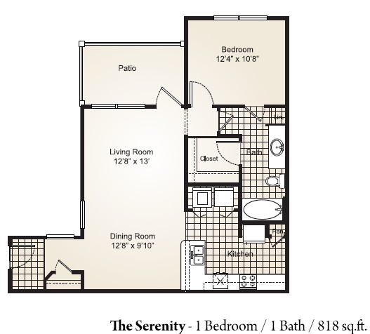 818 sq. ft. SERENITY floor plan