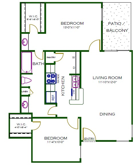 875 sq. ft. A3WD floor plan