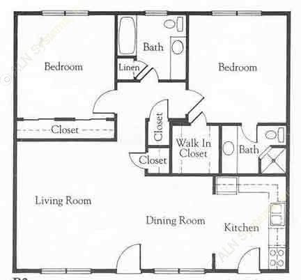 1,075 sq. ft. B2A floor plan
