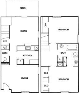 1,056 sq. ft. B3 floor plan