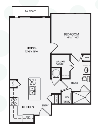736 sq. ft. Domain/A5 floor plan