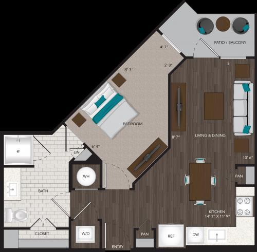 613 sq. ft. A7 floor plan