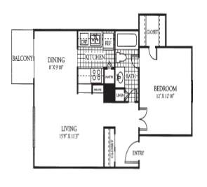 665 sq. ft. floor plan