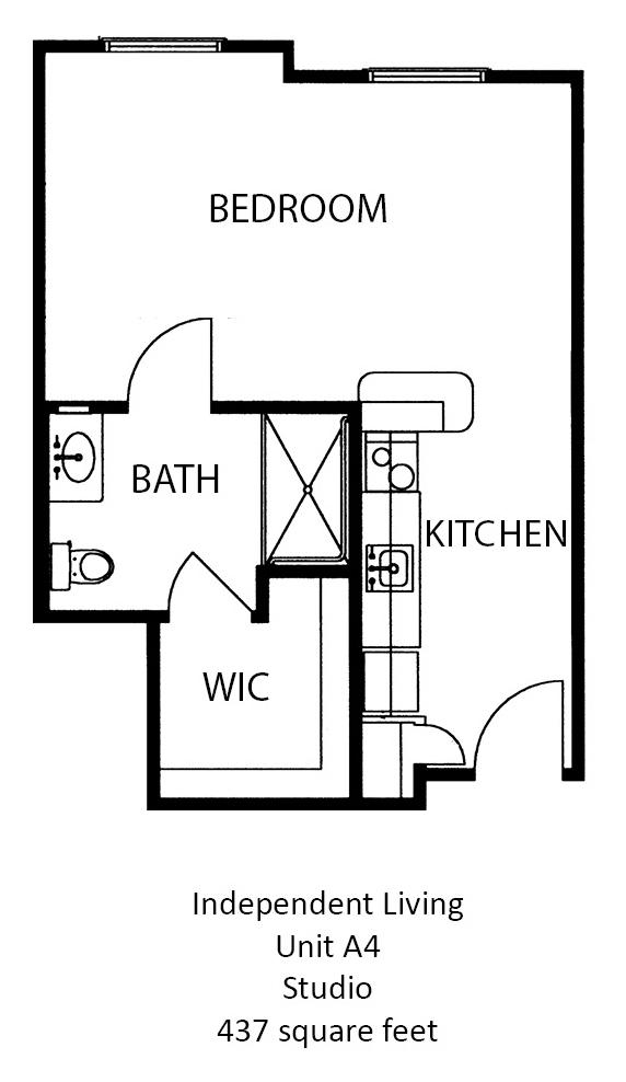 437 sq. ft. floor plan