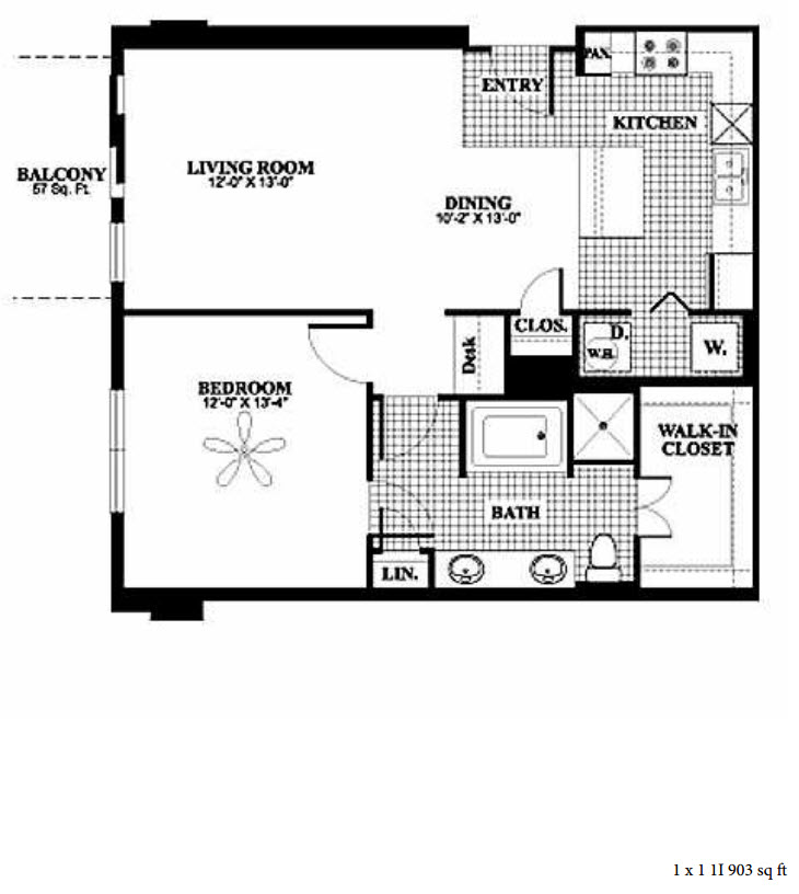 903 sq. ft. 1I floor plan