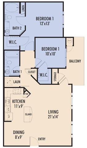 986 sq. ft. SERRANO/60 floor plan