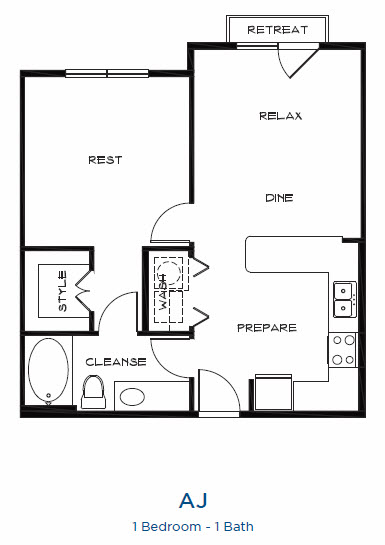 755 sq. ft. A1j floor plan