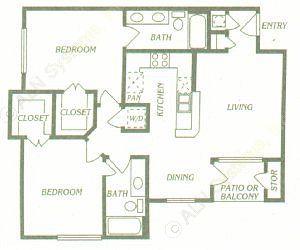 1,010 sq. ft. B2 floor plan