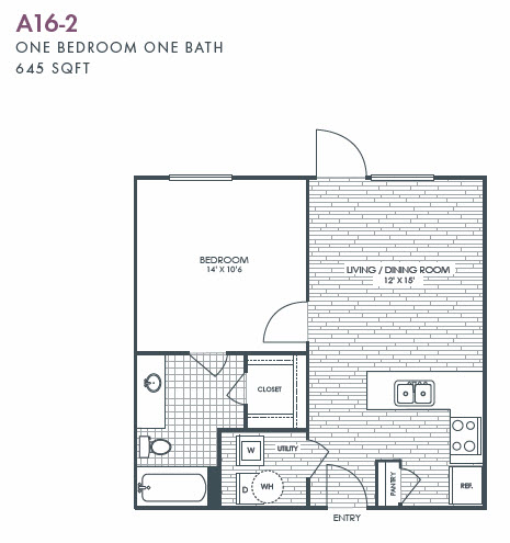 645 sq. ft. A16-2 floor plan