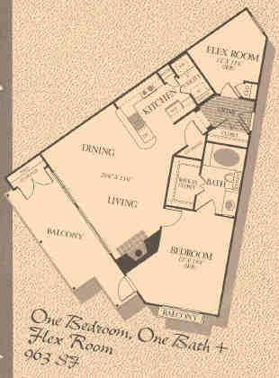 963 sq. ft. A3 floor plan