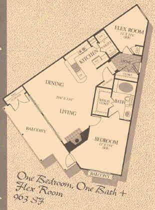 963 sq. ft. A3 floor plan