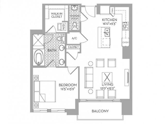 951 sq. ft. Preston(A.1) floor plan