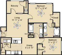 969 sq. ft. B1 gar floor plan