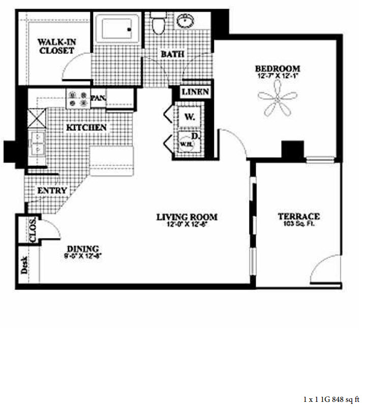 848 sq. ft. 1G floor plan
