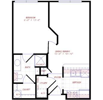 506 sq. ft. to 563 sq. ft. floor plan