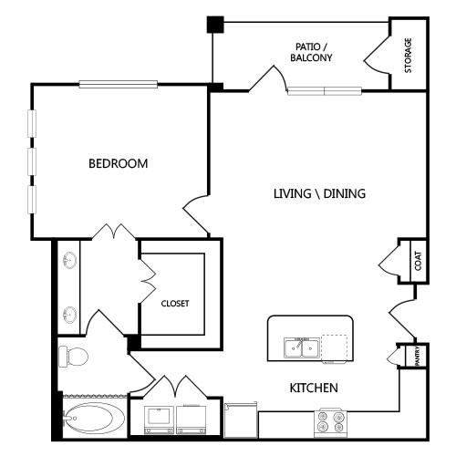 863 sq. ft. A5-1 floor plan
