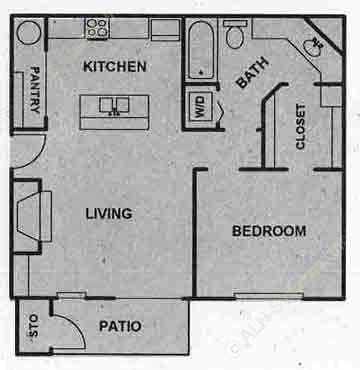 575 sq. ft. B floor plan
