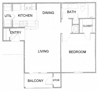 679 sq. ft. A floor plan