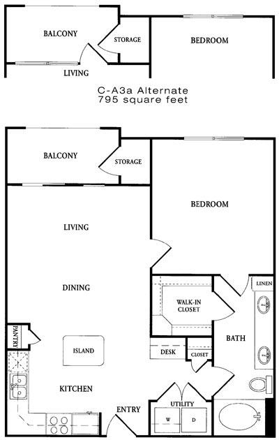 728 sq. ft. CA3 floor plan