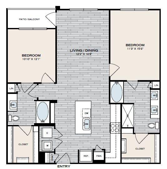 1,182 sq. ft. B2 floor plan