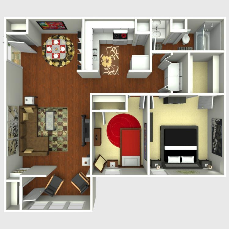 878 sq. ft. B1S floor plan