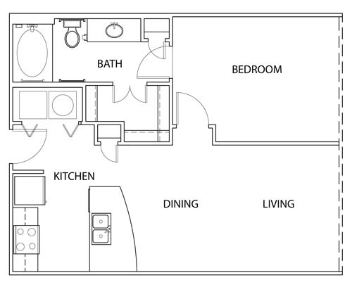 673 sq. ft. AO floor plan