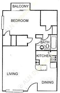 621 sq. ft. A2 floor plan