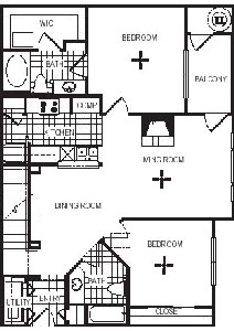 1,229 sq. ft. B3L floor plan