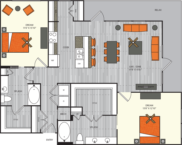 1,374 sq. ft. B5.1 floor plan