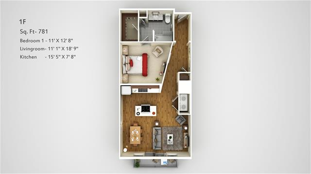 781 sq. ft. 1F floor plan