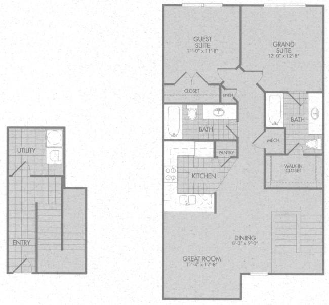 1,142 sq. ft. Madison 50% floor plan