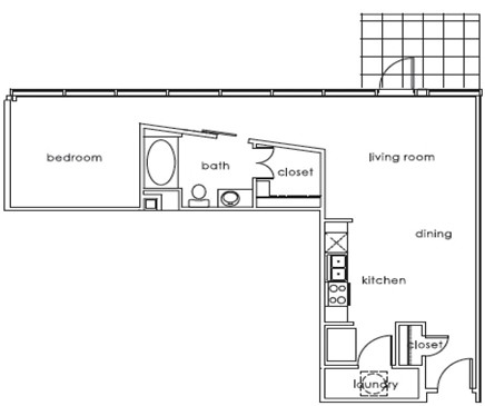 751 sq. ft. 1407 B floor plan