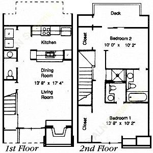 999 sq. ft. 2/2.5 floor plan