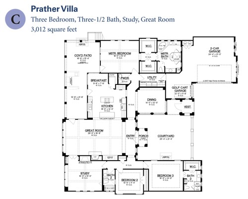 3,012 sq. ft. Prather Villa floor plan