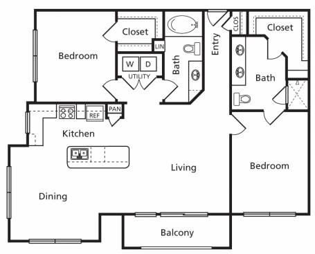 1,257 sq. ft. E floor plan
