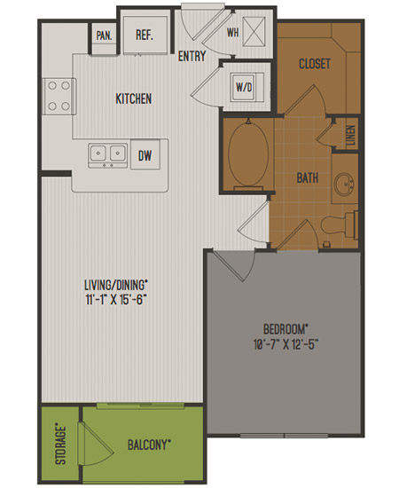 684 sq. ft. A1-Alt1 floor plan